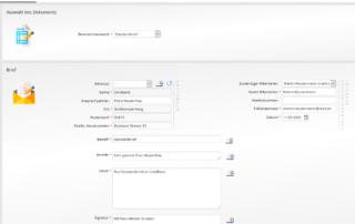 Dokumentenerstellung - Eingabemaske Standardbrief
