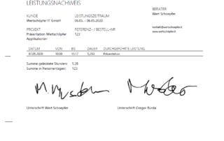 Zeiterfassung - Dokument Leistungsnachweis